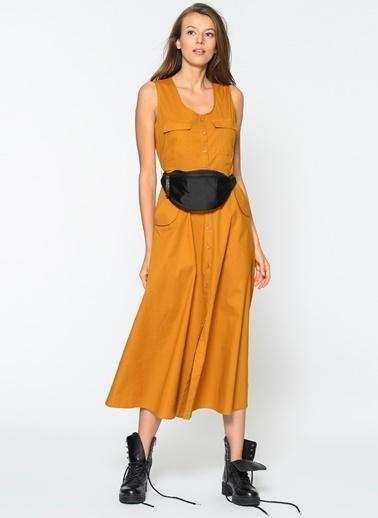 Agenda Düğme Detaylı Elbise Taba